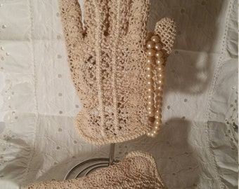 Victorian, Vintage, Crocheted, Ecru Color Gloves