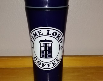 Dr Who Travel Coffee Cup - Insulated Plastic Reusable Travel Cup- Tardis - Time Lord - Dr Who Coffee - Dr Who Starbucks