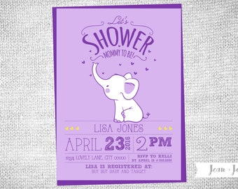 Sweet Elephant Baby Shower Invitation | Girl | Boy |  Baby Shower | You Choose the Colors | Invitation | Cute | Elephant