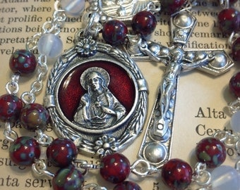 Chaplet of the Sacred Heart, Czech Picasso beads, red enamel medal