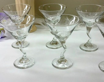 LIBBEY CROOKED STEM Martini Glasses Set of 8 Vintage Circa 1980, barware
