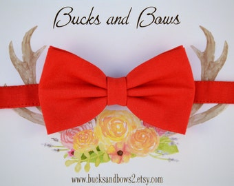 Poppy Red - Baby Boy Bow Tie ~ Red Baby Bow Tie ~ Adjustable Strap ~ Little Boys Accessories ~ Christmas Red Baby Tie