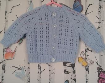 Baby Boy Cardigan, Knitted Cardigan, Blue Cardigan, Hand Knitted