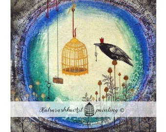 Watercolour, Ink, Painting , Raven , Cage, Keys, Letter, Flovers, Poppy