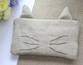 Cat Pencil Case, Zipper Pouch, Linen Pouch, Makeup Pouch, Pencil Case
