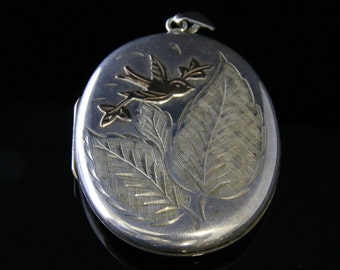 Vintage Silver Gold Locket – Large Locket Gold Bird Motif