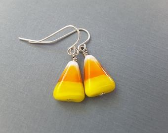 Candy Corn Dangles . Earrings