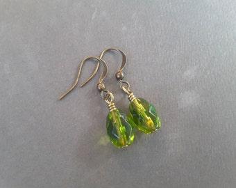 Olive Green Crystal Barrels Drops . Earrings