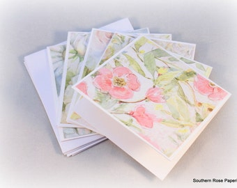 Small Note Cards, Flower Note Cards, Mini Note Cards, Flower Cards, Gift Enclosures, Blank Note Card Set, Small Note Cards, Set Of Five