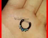 Opal Black Septum Clicker Ring Aurora Borealis Opal Precia Ring Cartilage Earrings Nipple Ring Circular Barbell Tragus Jewelry Helix Conch