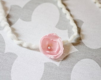 Simpler Newborn Photo Prop Headband, Pink Chiffon Flower with Pearl Center