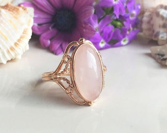 Rose Quartz Ring - Genuine Gemstone - October Ring - Oval Ring - Promise Ring - Gold Ring - Birthstone Ring - Lace ring - Pink Ring