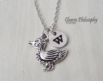 Duckling Necklace - Antique Silver Duck Charm - Personalized Monogram Initial Necklace