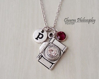 Camera Necklace - Photographer Jewelry - Antique Silver Jewelry - Monogram Personalized Initial and Birthstone