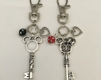 Mickey or Minnie Key Purse Charm / Zipper Pull