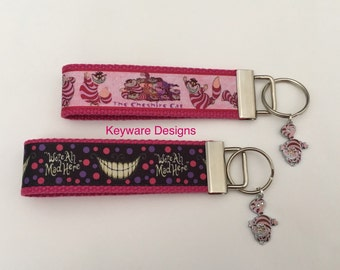 Cheshire Cat or We're All Mad Here  Key Fob Keychain