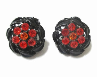 Japanned Earrings, Vintage Flower Clips with Orange Paste Crystals, 1950s- 1960s,   Mid Century Jewelry, Black