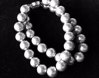 9 mm sterling silver bead bracelet, 2 strands
