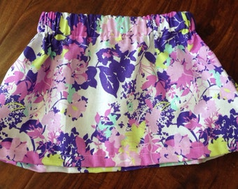 Toddler floral skirt//Birthday skirt girl//Floral birthday skirt//Family pictures outfit//Lime green and purple skirt/Lime and purple skirt/