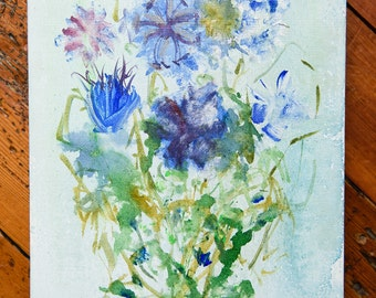 Blue Cornflowers Original Canvas