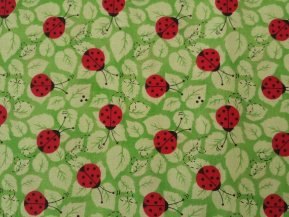1 yd kids bright ladybug print fabric by cottoncrazyfabric for Bright childrens fabric