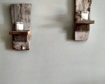 Reclaimed barnwood candle wall holder