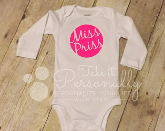 Baby infant girl onesie long sleeved Miss Priss