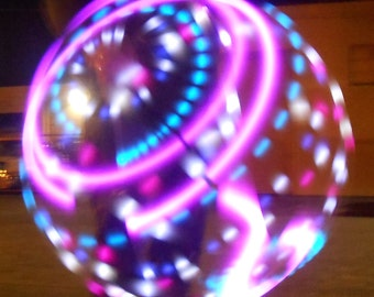 Jupiter LED Hula Hoop - 20 Pink/White Purple/White Blue Strobe and Pink Solid LEDs - Rechargeable Li-Ion