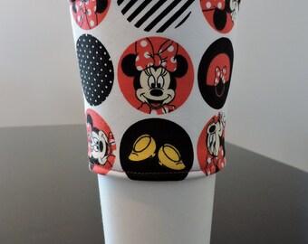 Fabric Coffee Cup Sleeve/Coffee Cup Wrap/Java Jacket/Cup Sleeve/Coffee Sleeve/Minnie Mouse Coffee Sleeve