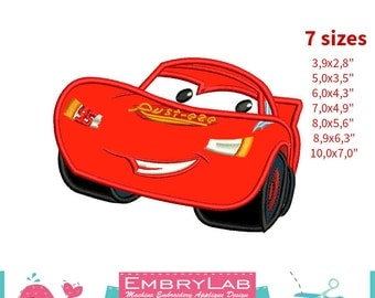 Applique Lightning Mcqueen. The Cars. Machine Embroidery Applique Design. Instant Digital Download (16283)