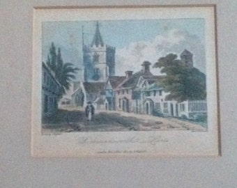 Vintage Colour Print of Rickmansworth - Herts, England. Drawn by J Hafsell. Aquat. D Havell. Pubd 1st Nov 1817,  by I. Hafsell.