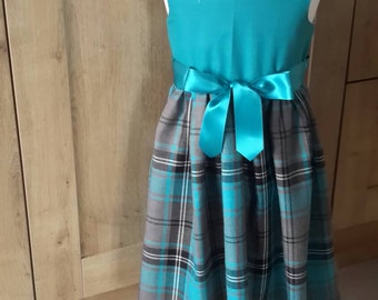 Turquoise check dress