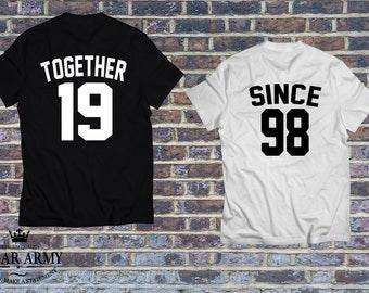 Together since shirts, Together since couple shirts, custom couple tees, husband and wife shirts, couple shirts, together since tees