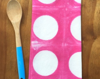 ON SALE - Pink Tea Towel - Pink Kitchen Towel with Dots - Hand-Dyed Flour Sack Towel