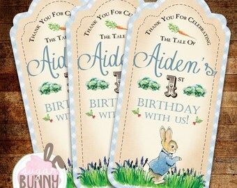 Printable Peter Rabbit 1st Birthday or Baby Shower Favor Tags/Gift Tags