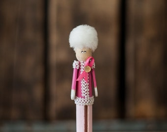 Pinspot Pink Soldier Clothespin Ornament