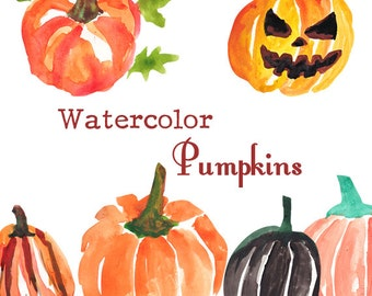 Watercolor Pumpkins Clipart Commercial Use