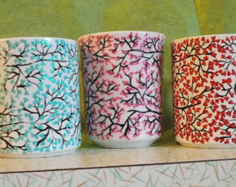 Branches hand painted wine glass