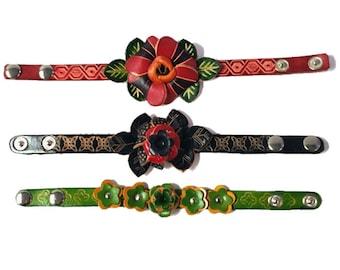 Genuine Leather Bracelet, Huge Flowers Leather Bracelet, HFF145644
