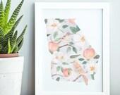Georgia State Print- State Flower, Fruit, & Bird Pattern