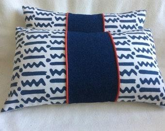 Fun Print Designer Pillow Covers - Alan Campbell Fabric - Denim and Piping Accent - 2pc Set - 12x20 Lumbar Covers