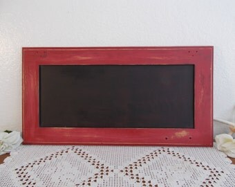 Red Chalkboard Up Cycled Vintage Wood Christmas Holiday Wedding Reception Buffet Decoration Country Cottage Farmhouse Kitchen Home Decor