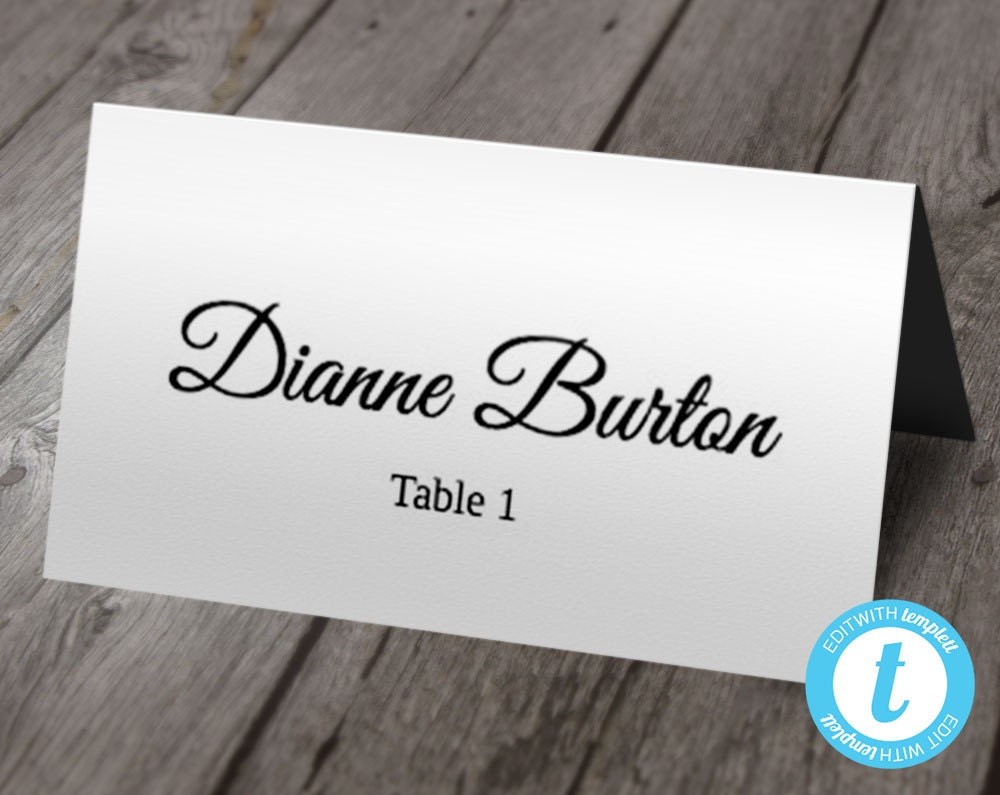 Wedding Place Card Template Escort Cards Calligraphy