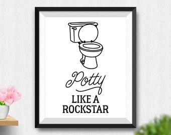 Printable Potty Like A Rockstar Wall Art, Funny Bathroom Wall Decor, Bathroom Print, Funny Wall Art, Kids Bathroom Wall Art (Stck404)