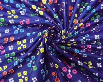 """Cotton Blue Indian Decorative Fabric 44"""" Wd Crafting Geometric Printed Apparel Drape Sewing Dress Material Cotton Fabric By 1 Yard ZBC2822"""