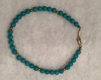 "Blue Glass Bead 6&3/4"" Bracelet - CA 1970's - Item SB12"