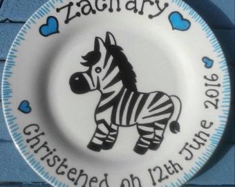 Boys christening plate. Christening gift. Hand painted plate. Can be for girls too.