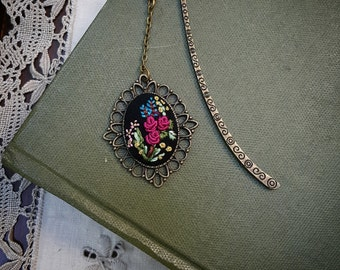 Hand Embroidered Floral Bookmark