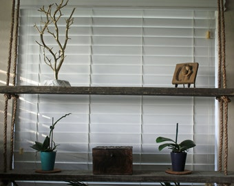 Rope and wood hanging shelves - reclaimed wood - display shelves - hanging storage