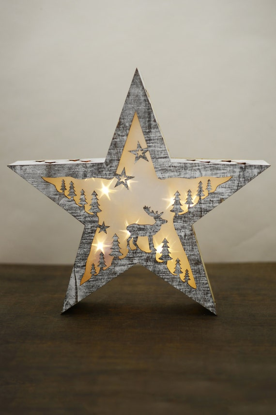 3D Wood Christmas Star, Battery Operated, LED lights